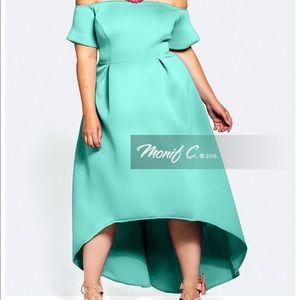 Monif C Jolene High Low Off The Shoulder Dress 3X